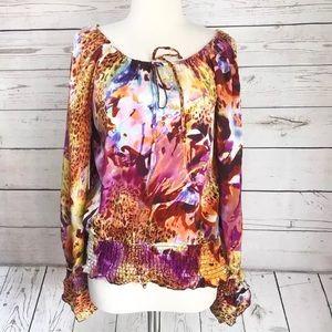 Cache 100% Silk Busy Animal Print Silk Blouse